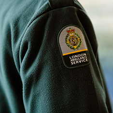 close photo of London Ambulance Service uniform