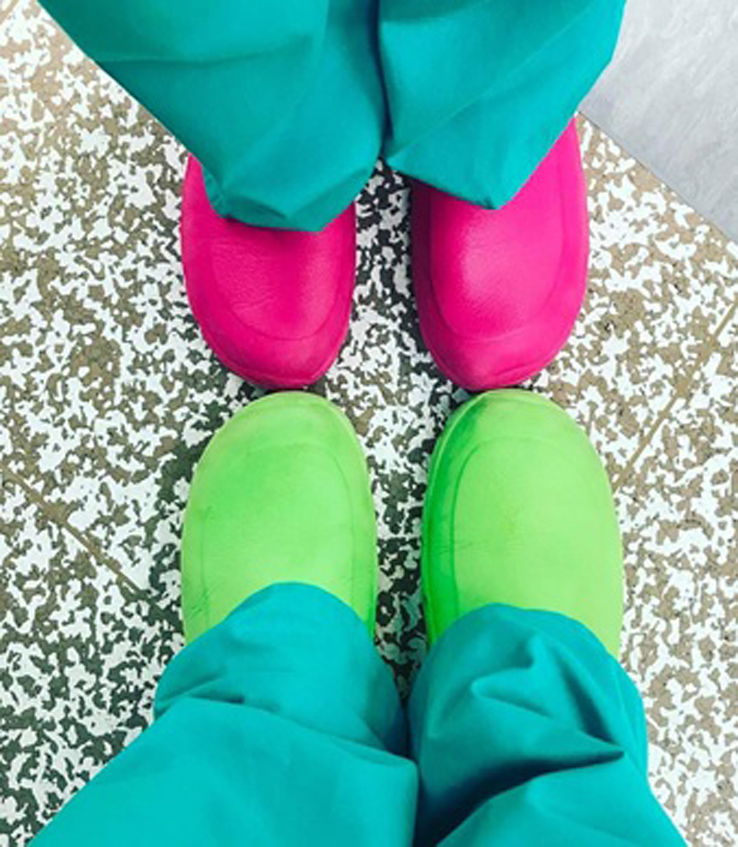 Pink and green medical clogs