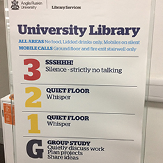 library signages about study ones