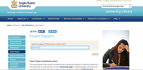 screenshot of ARU Library online system: how to search for exam paper information