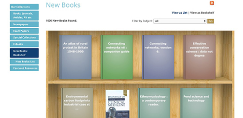 screenshot of ARU Library online system: list of new books arrived to the Library