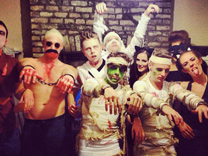 Jared and his friends at a Halloween party