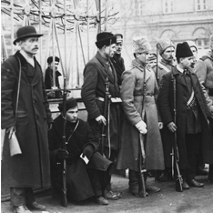 Soldiers standing at the gates of Smolny Institute