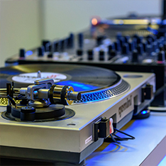 DJ decks on a table