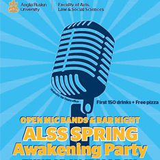 Spring awakening event poster with a microphone