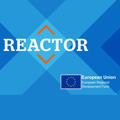REACTOR logo with European Regional Development Fund motif