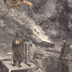 Illustration of two guards, on on a platform containing machinery, in front of a ship being wrecked by a hand from the heavens