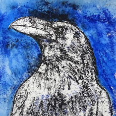 an illustration of a raven, set against a blue background
