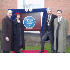 Steve Ridley (right) at an unveiling of a blue plaque commemorating Constance Naden in Birmingham, with (left to right) David Clarke (Chairman of the Birmingham Civic Society), Vivienne Wilkes (Lady Mayoress of Birmingham), Michael Wilkes (Lord Mayor of Birmingham)