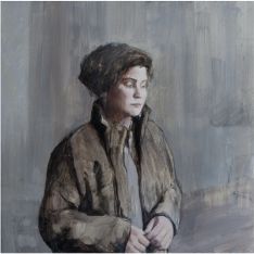 Painting of a woman in a brown jacket