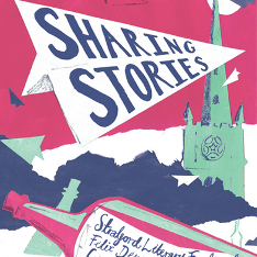 Illustration of a paper plane bearing the words 'Sharing Stories' flying in front of a church tower, above a bottle labelled 'Stratford Literary Festival'