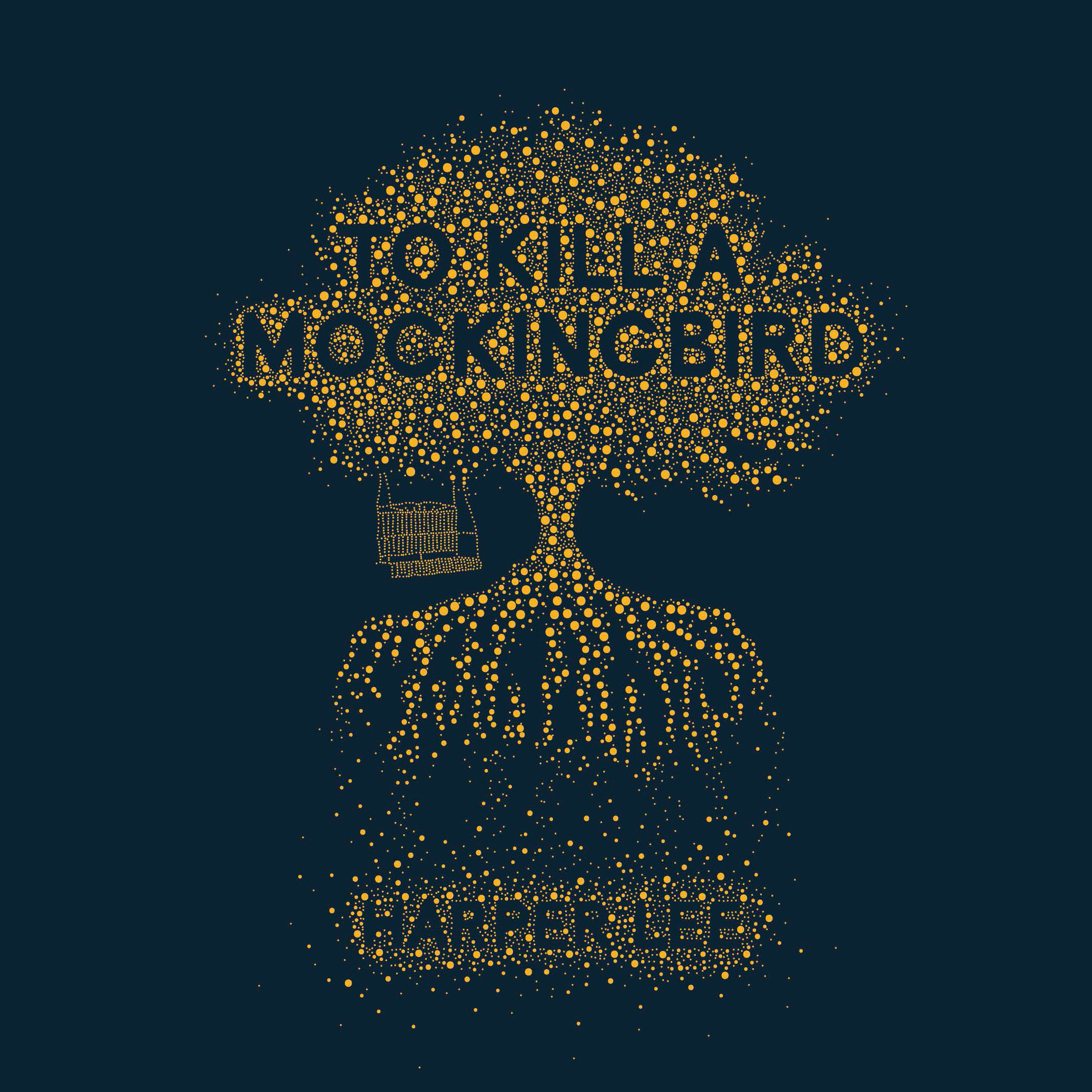 Cover of 'To Kill a Mockingbird' depicting a tree and swingseat created from gold bubbles