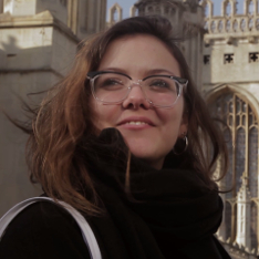 Micaela Sapinho outside King's College, Cambridge