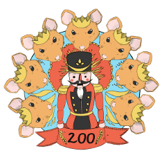 Illustrated design of seven mouses wearing crowns surrounding a toy soldier with the number