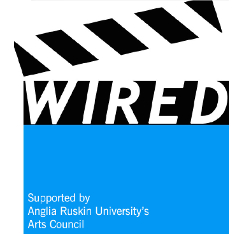 A blue clapperboard containing the legend 'Wired - supported by Anglia Ruskin University's Arts Council'