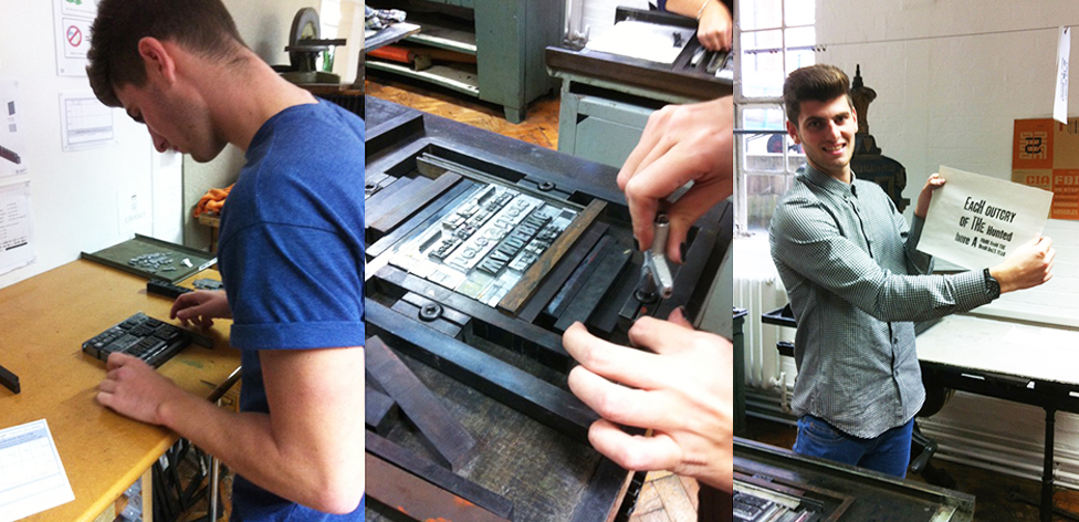 Setting metal type in the CSA letterpress room