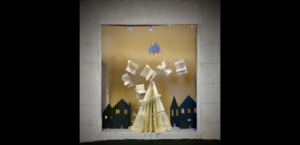 Cambridge University Press Christmas window design by first year Interior Design students