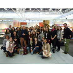 Staff and students at the Bologna Book Fair stand