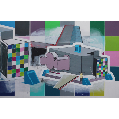 'Design and Build 1', Benet Spencer, Acrylic and oil on canvas, 140 x 220cm, 2013