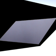 A grey irregular parallelogram inside a larger black irregular parallelogram
