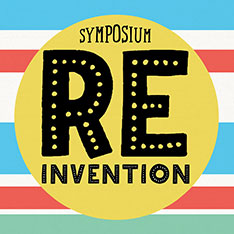 Reinvention Symposium logo in front of a blue, red, white and green striped background