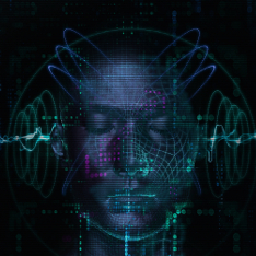 A CGI face with audio waves entering ears