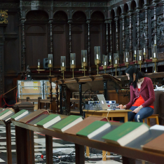 Dr Mariana Lopez studying the acoustics of King's College Chapel, Cambridge
