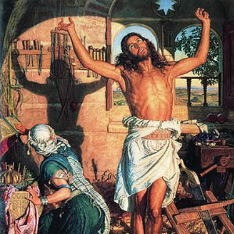 """The Shadow of Death"" by William Holman Hunt (1870­‐3), showing Jesus Christ stretching his arms after sawing wood"