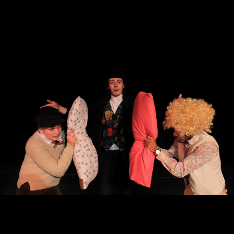 Twelfth Night: Clown Laurie Maciver (centre) with Viola, Saeran Rowland (left) and Sir Andrew, Jason Alves