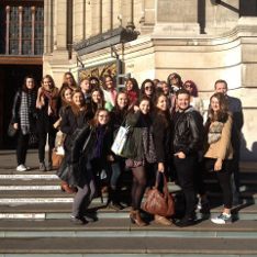 The students on the steps of the V&A Museum