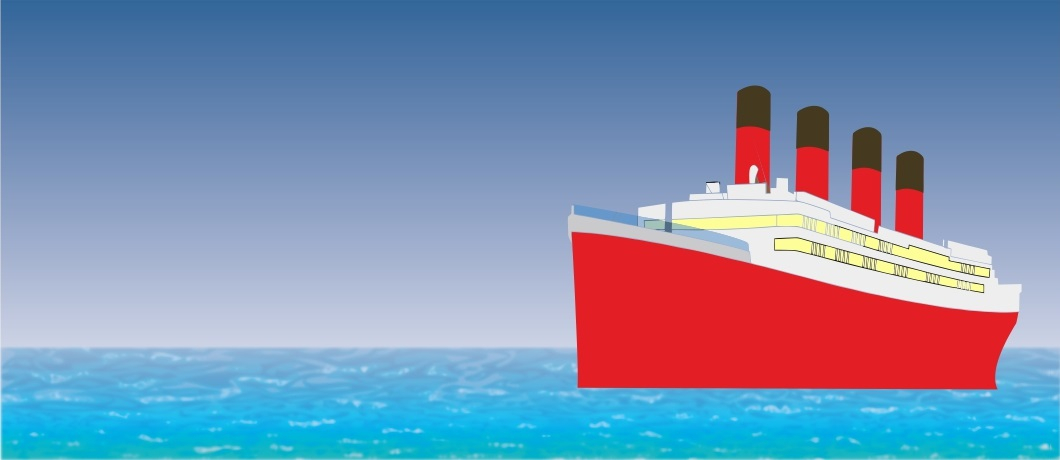 Illustration of a cruise ship on the ocean