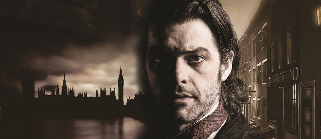 A man, his face half shadowed, in Victorian garb, set against a stylised backdrop of Victorian London