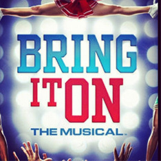 Promotional logo for Bring It On The Musical.  Title is set against a backdrop of spotlights with a cheerleader in mid air performing a stunt.  Arms are outstretched ready to catch her.