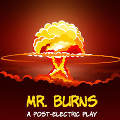 Logo for Mr Burns - a mushroom cloud against a red background, the words