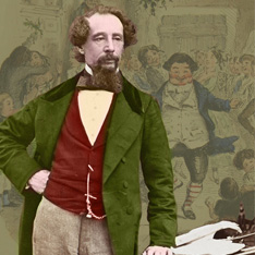A photo of Charles Dickens, leaning against a desk, against an illustrated background.