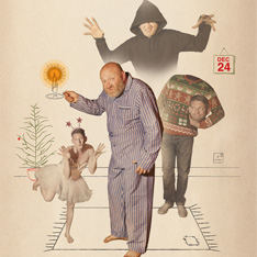 a surreal image of a man in pajamas holding a candle, a man in a ballerina costume, a man holding his own head and a hooded man - arms outstretched