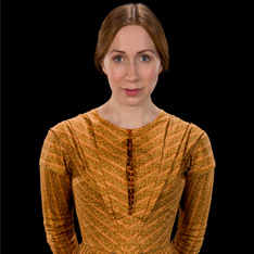 a portrait of a woman, dressed up and made to look like Jane Eyre