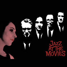 Faces of five people next to the Jazz At The Movies logo