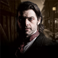 a man, his face half shadowed, in Victorian garb, set against a stylized backdrop of Victorian London