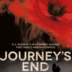 a picture of a poppy set against a landscape with outlines of soldiers with the words: Journey