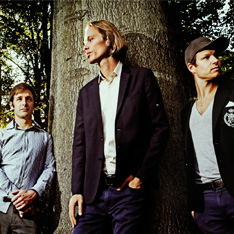 the three band members of Phronesis, stood against a tree