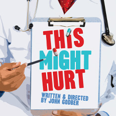 "illustration of a doctor pointing to a clipboard with the words ""This Might Hurt"" written on it"