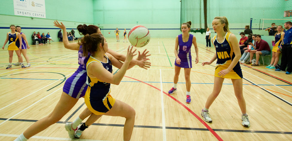 ARU netball team in action at Kelsey Kerridge Sports Hall
