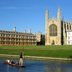 King's College Cambridge with river and punt in foreground