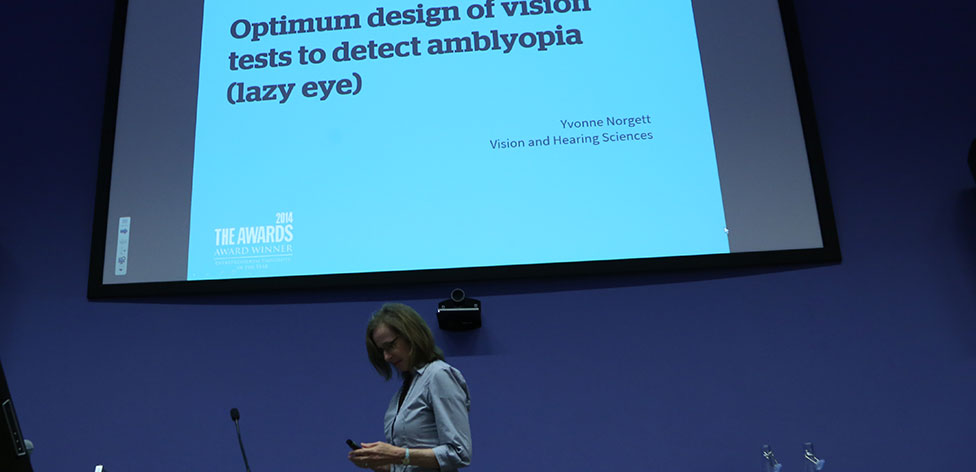 Dr Yvonne Norgett from our Department of Vision and Hearing Sciences presents her research in our '3 Minute Shorts' session - 'Optimum design of vision tests to detect amblyopia (lazy eye)'.