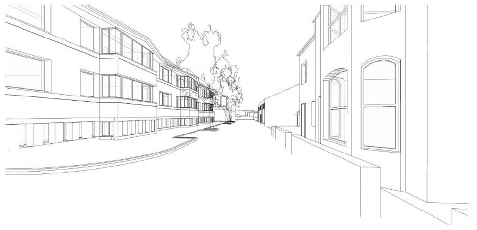 3D view from Broad Street - sketch courtesy of Richard Murphy Architects