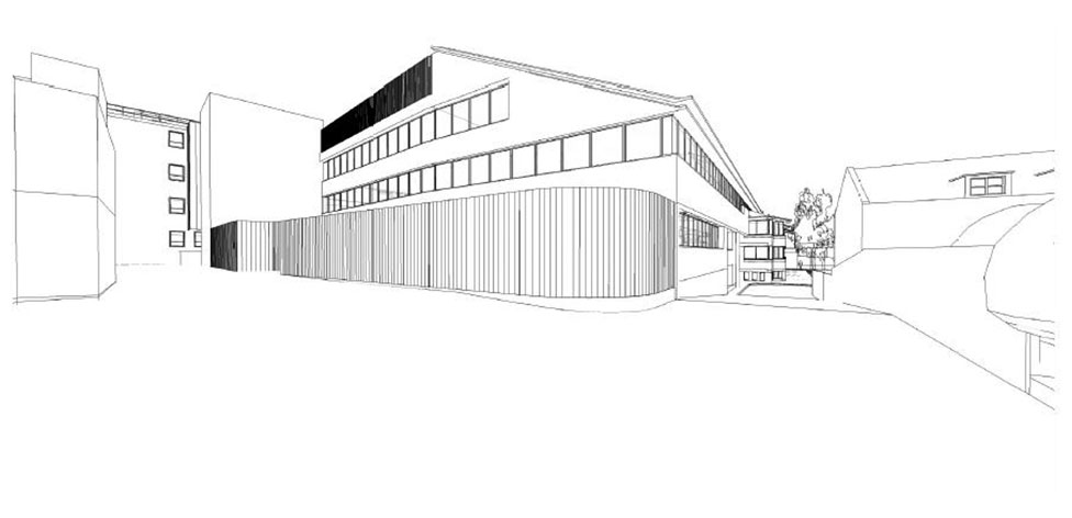 3D view of the western facade - sketch courtesy of Richard Murphy Architects
