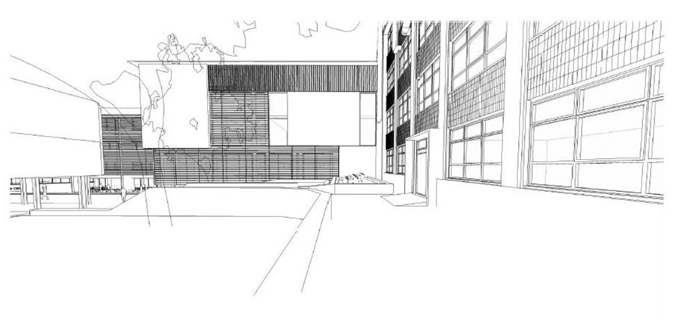 3D view of the courtyard - sketch courtesy of Richard Murphy Architects