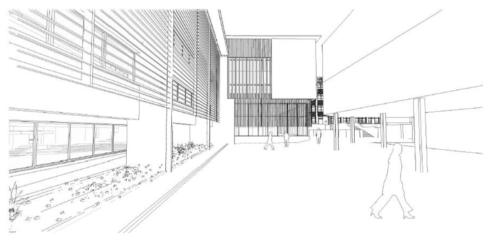 3D view from outside the superlab - sketch courtesy of Richard Murphy Architects