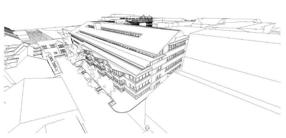 Aerial view from the North East - sketch courtesy of Richard Murphy Architects